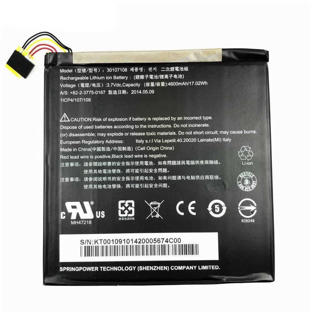 3.7V Acer 30107108 Akkus